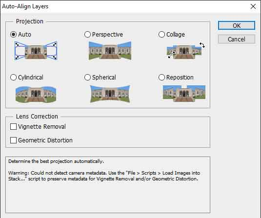 photoshop auto alignment dialog box