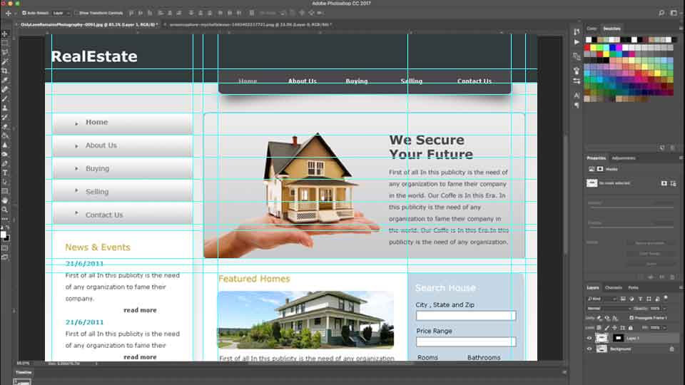 How to create a website mockup design in photoshop?