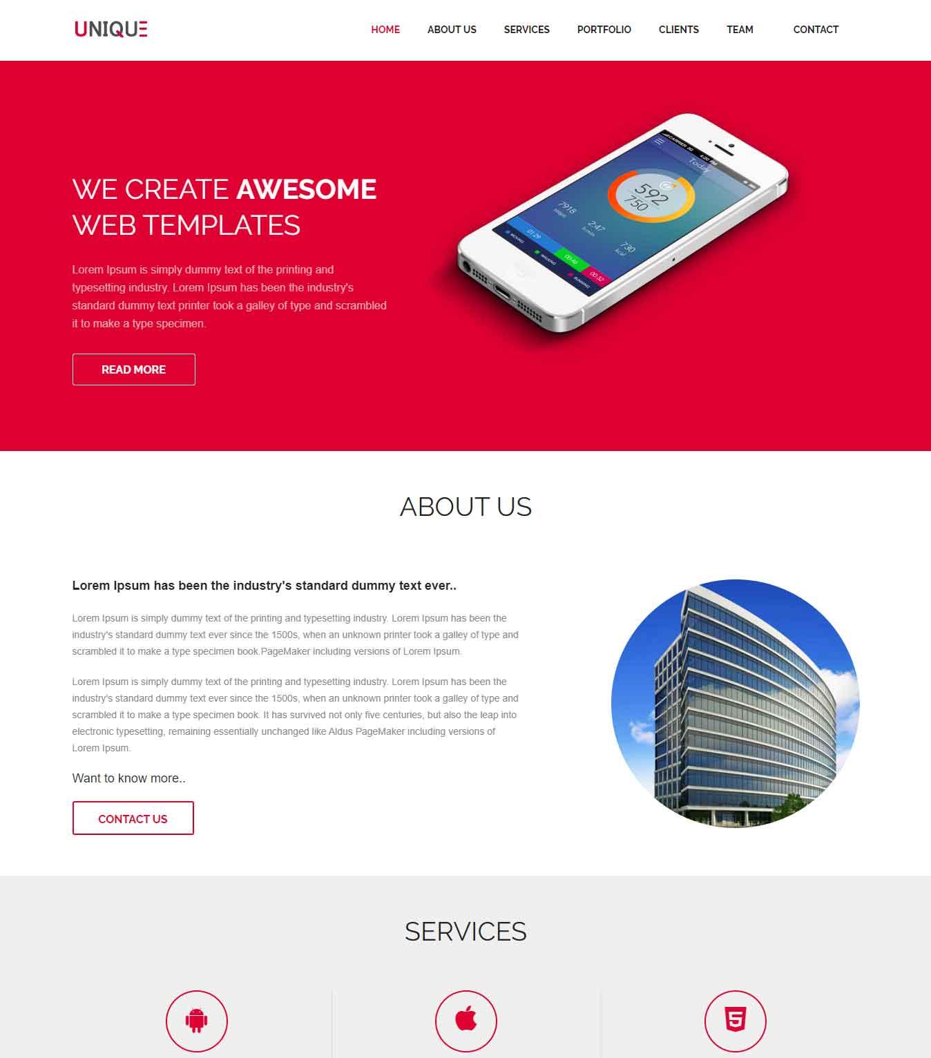 Unique Single Page Website